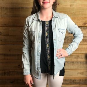 American Eagle outfitters, pearl snap denim top.